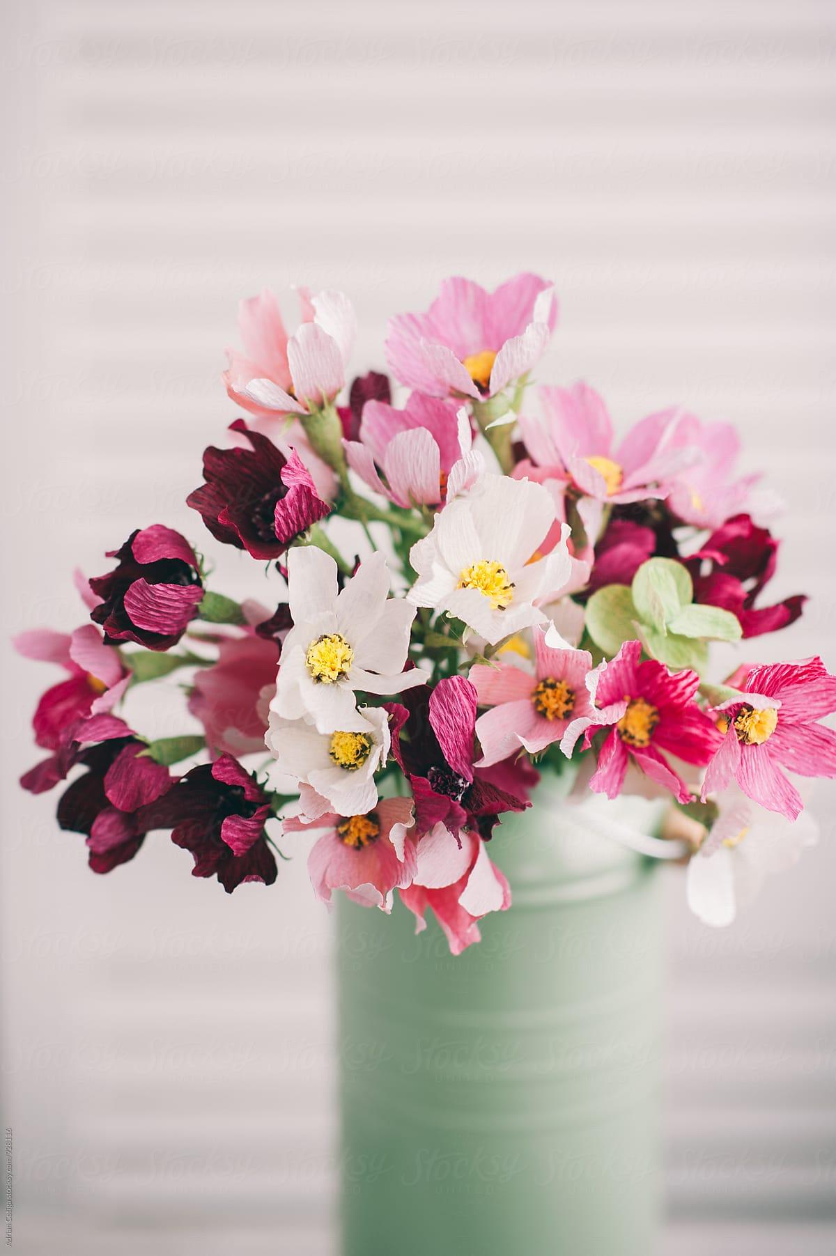 Delicate Paper Flowers Bouquet Stocksy United
