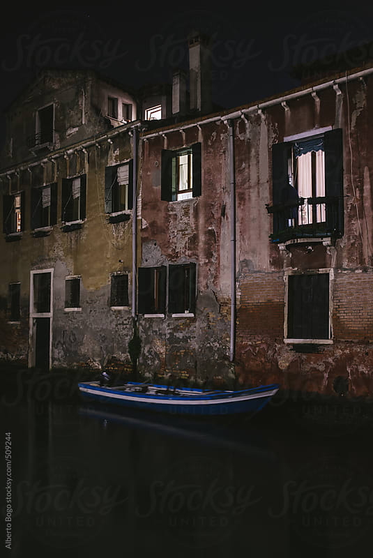 Canal in Venice, Italy at Night by Alberto Bogo for Stocksy United
