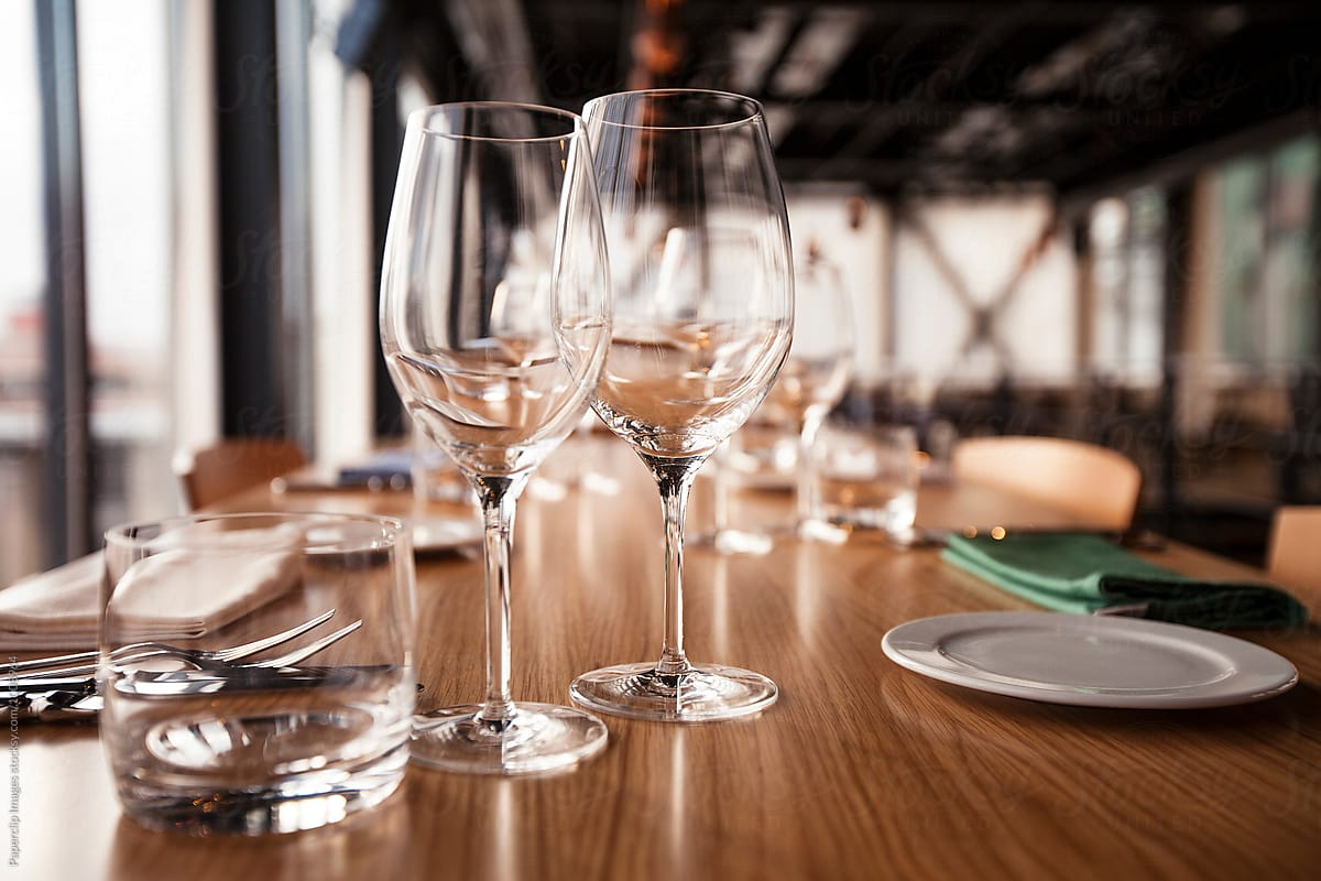 Close Up Shot Of Restaurant Table Setting