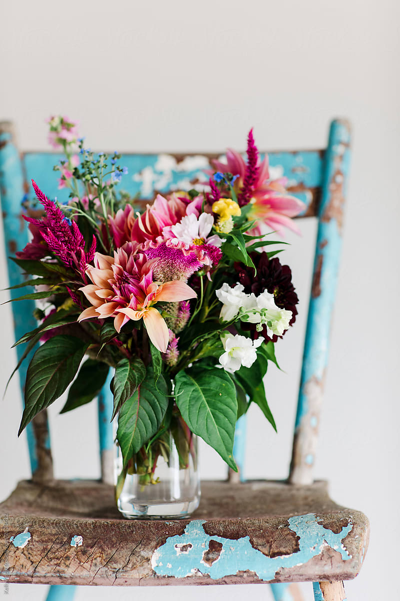 Bright Bouquet Of Late Summer Flowers In A Vase On A Weathered ...