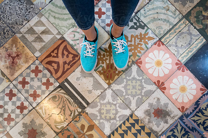Floor with a lot of different vintage tiles by Bisual Studio for Stocksy United