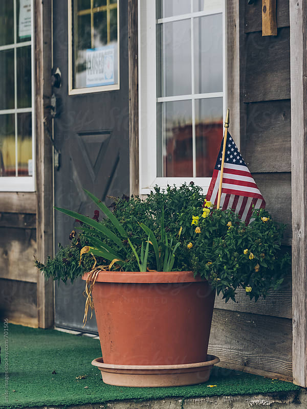 window box with flag by yuanyuan xie for Stocksy United