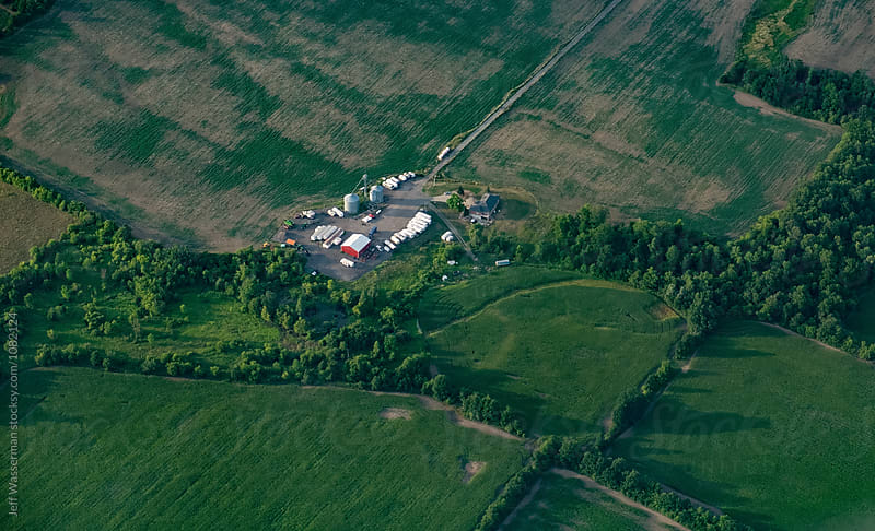 Aerial view of Farm by Jeff Wasserman for Stocksy United