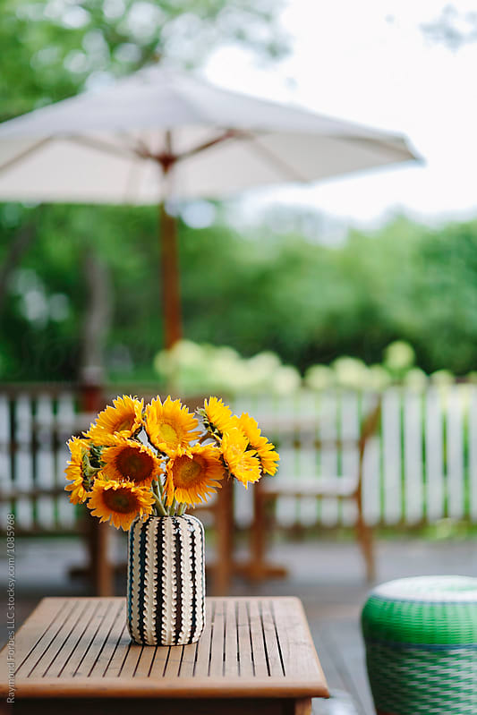 Sunflowers on Porch by Raymond Forbes LLC for Stocksy United