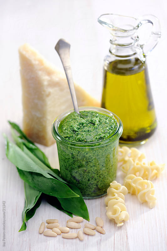Bear's garlic, ramson pesto by Ina Peters for Stocksy United
