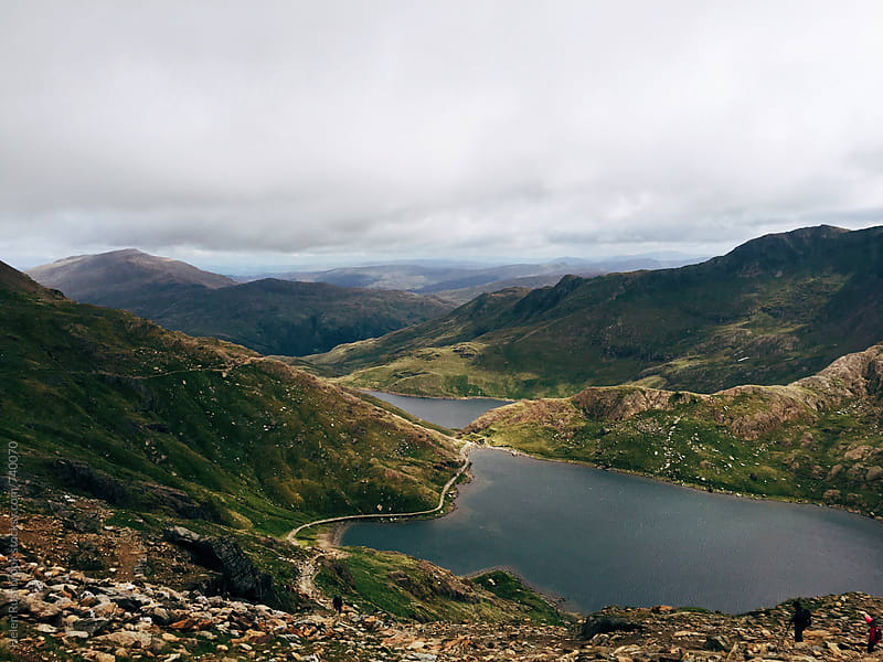Llyn Glaslyn from the Miners' Path on Mount Snowdon. by Helen Rushbrook for Stocksy United