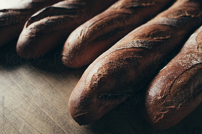 French Baguettes in Close-Up by Lumina for Stocksy United
