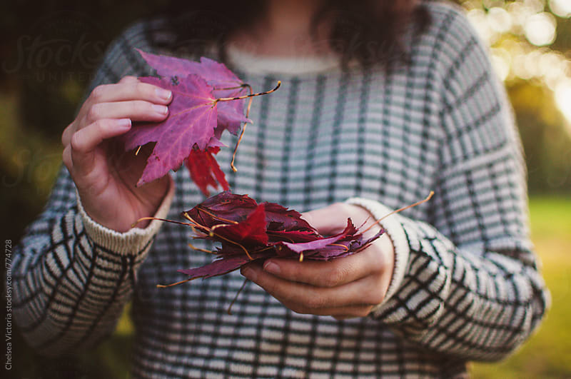 A young woman holding red leaves by Chelsea Victoria for Stocksy United