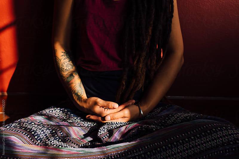 Tattooed Female Hands in Meditation by Nemanja Glumac for Stocksy United