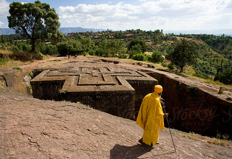 The Church of Saint George, one of many churches hewn into the rocky hills of Lalibela by Hugh Sitton for Stocksy United