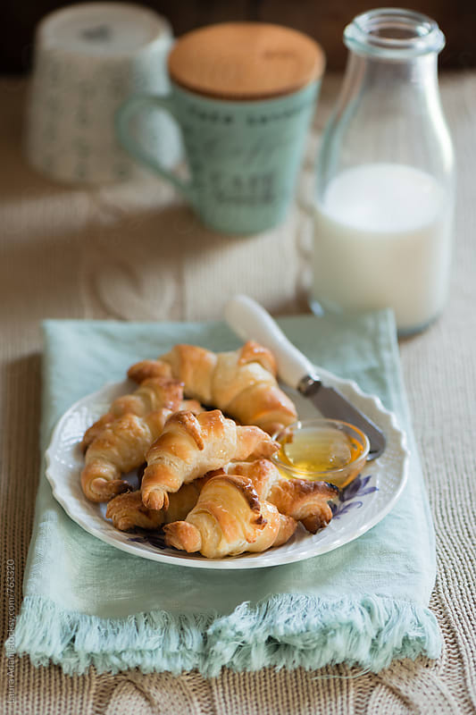 Fresh baked croissant by Laura Adani for Stocksy United