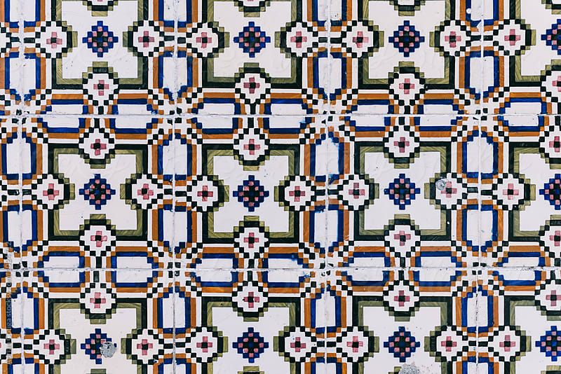 Texture of traditional Portuguese tiles on the wall by Adrian Cotiga for Stocksy United
