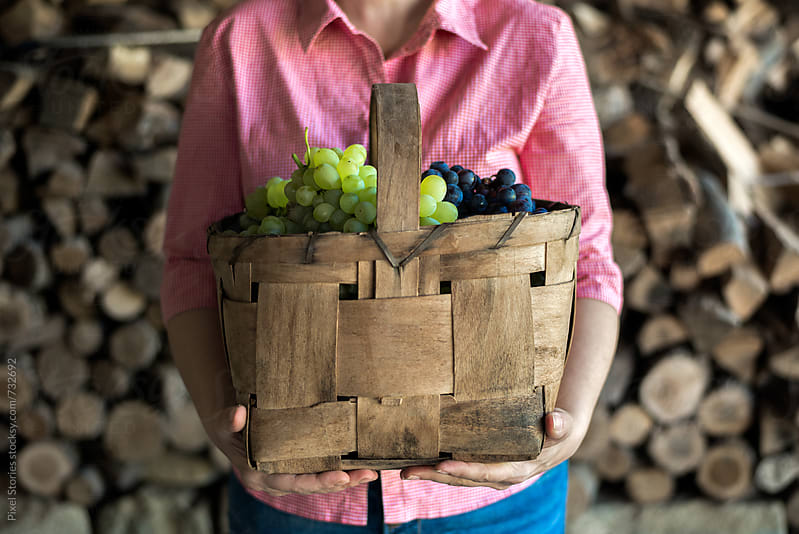 Woman holding basket full of grape by Pixel Stories for Stocksy United