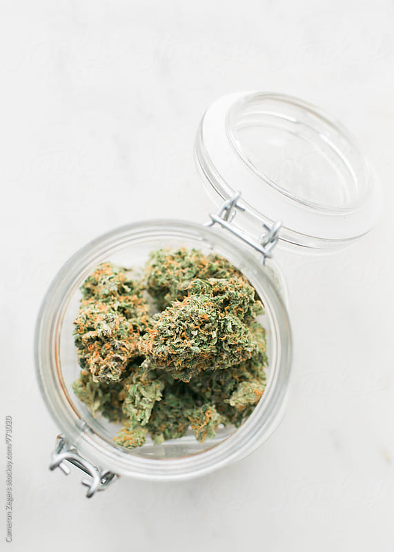 large jar of marijuana by Cameron Zegers for Stocksy United