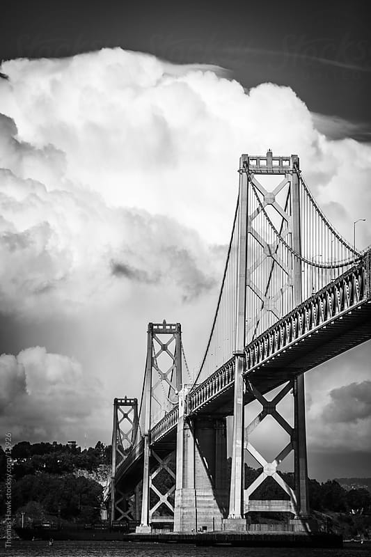 Bay bridge with clouds by Thomas Hawk for Stocksy United