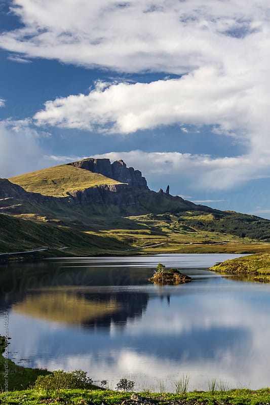 Small Loch (lake is called loch in scotland) with the old man of by Leander Nardin for Stocksy United