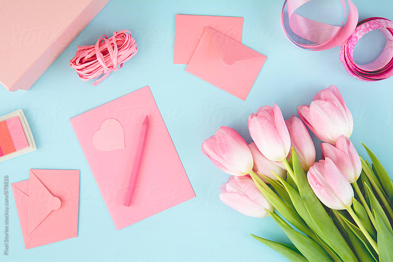Making cards for Valentine's day. Pastel tones. by Pixel Stories for Stocksy United