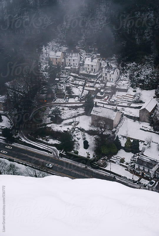 View from High Tor overlooking Matlock Bath in snow.  by Liam Grant for Stocksy United