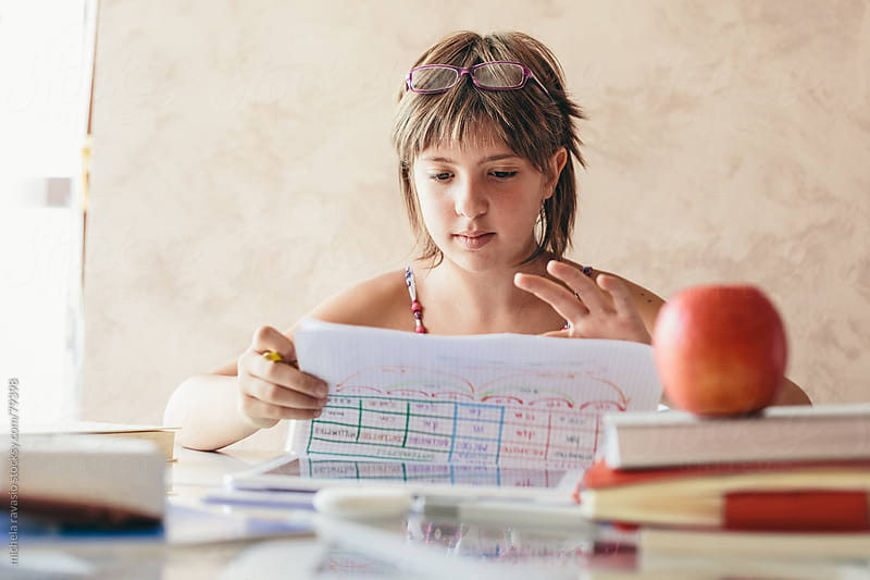 Young girl studying by michela ravasio for Stocksy United