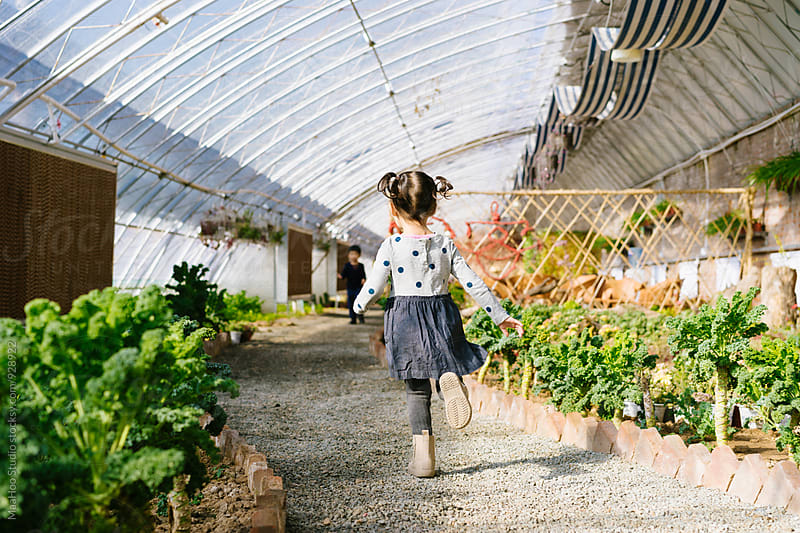 Kid running in a plant greenhouse by Maa Hoo for Stocksy United