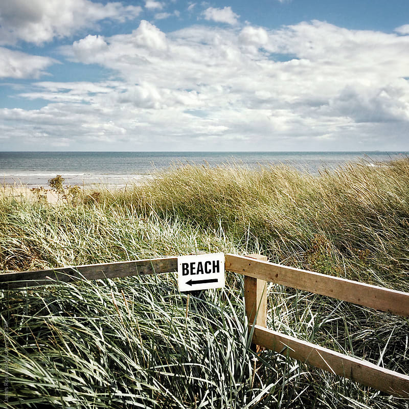 A sign indicting the way to the beach by James Ross for Stocksy United