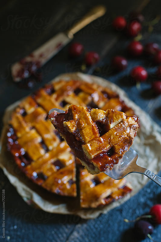 Tart with cherries by Davide Illini for Stocksy United
