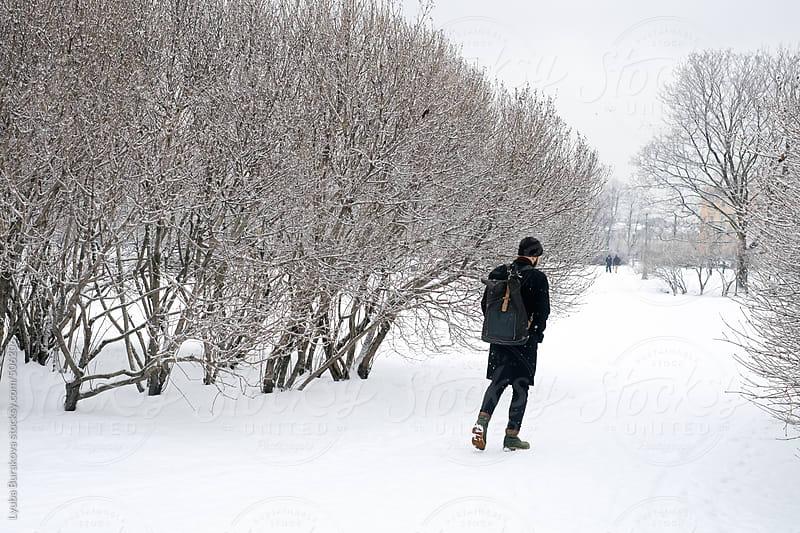 Man walking in park in snow by Lyuba Burakova for Stocksy United