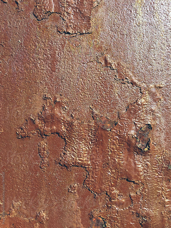 Close up of rusty, brown metal wall by Paul Edmondson for Stocksy United