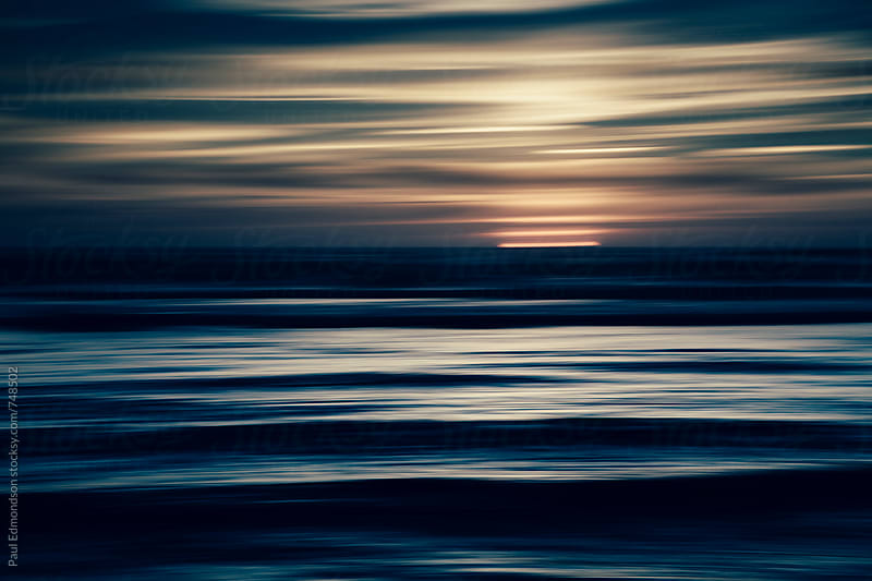 Moody seascape abstract at dusk by Paul Edmondson for Stocksy United