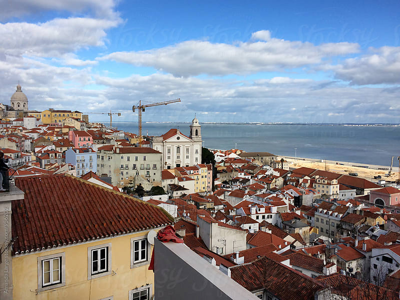 view of Lisbon, Portugal from the Santa Luzia lookout by Amanda Large for Stocksy United