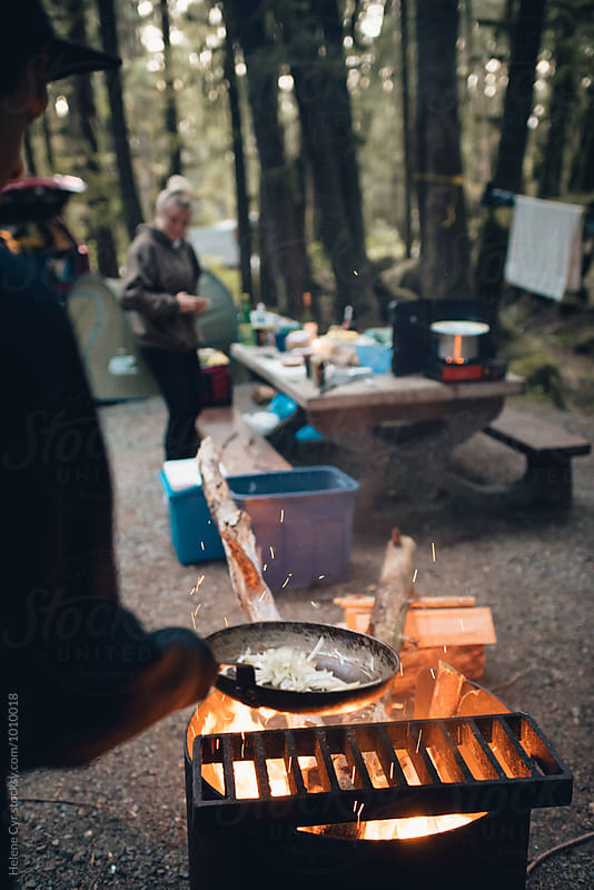 Camping in the forest by Helene Cyr for Stocksy United