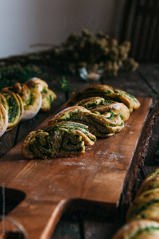 Braided bread with pesto by Nataša Mandić for Stocksy United