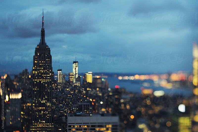 Manhattan skyline at dusk by Chelsea Victoria for Stocksy United