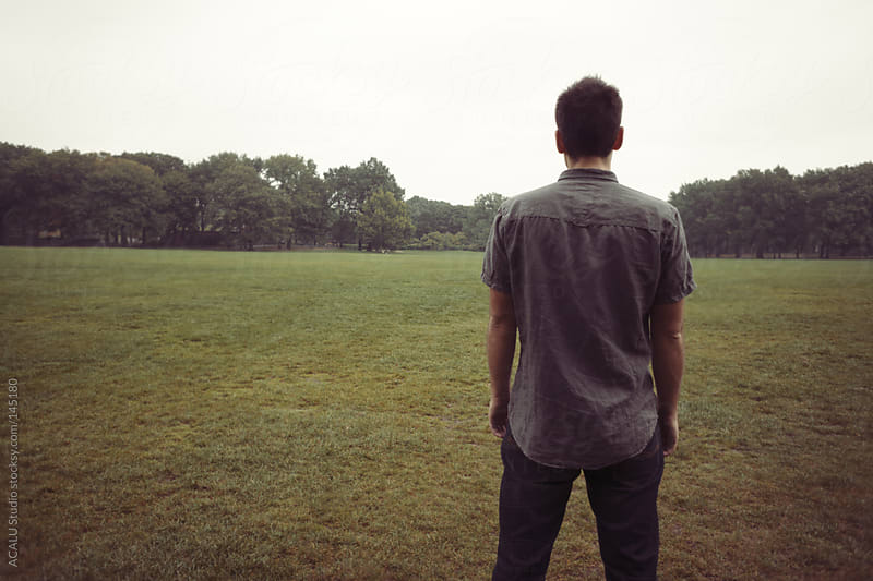 Man looking at park by ACALU Studio for Stocksy United
