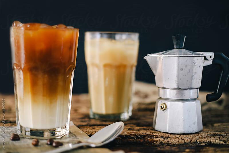 Mocha and iced coffee with Italian moka coffee pot by Jovo Jovanovic for Stocksy United