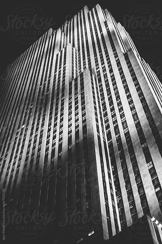 skyscaper,night,New York by Igor Madjinca for Stocksy United