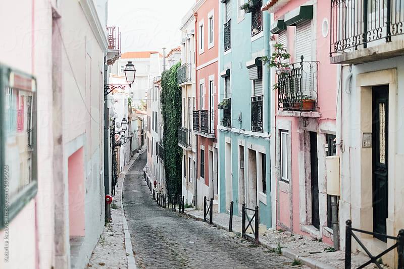 Pastel Street in Lisbon, Portugal by Katarina Radovic for Stocksy United