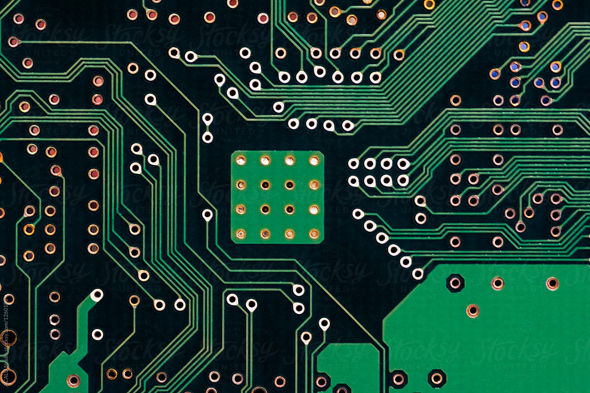 Green Printed Circuit Board Background Stocksy United Electronic Royalty Free Stock Photography By Acalu Studio For