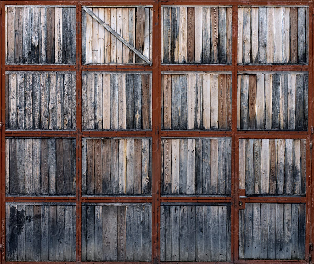 Old Wooden Garage Doors Stocksy United