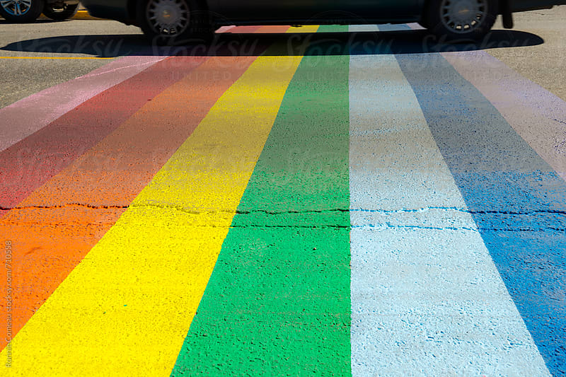 Rainbow Crosswalk by Ronnie Comeau for Stocksy United