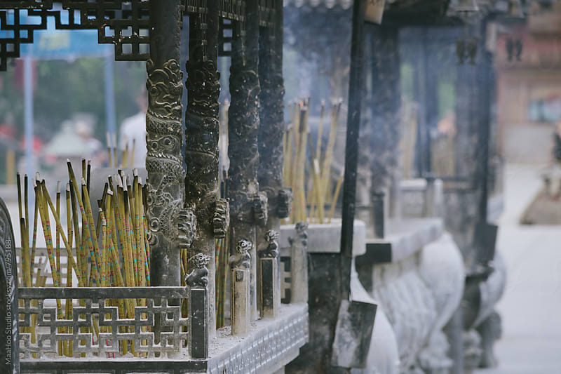 Incense burning in a China temple by Maa Hoo for Stocksy United