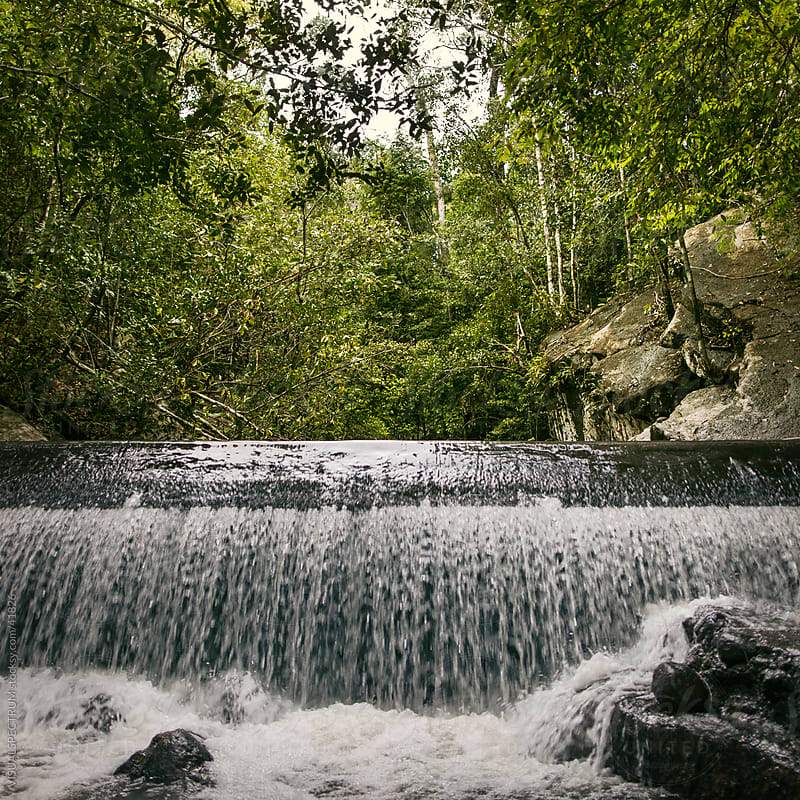Small Overflowing Dam in the Tropical Jungle by VISUALSPECTRUM for Stocksy United