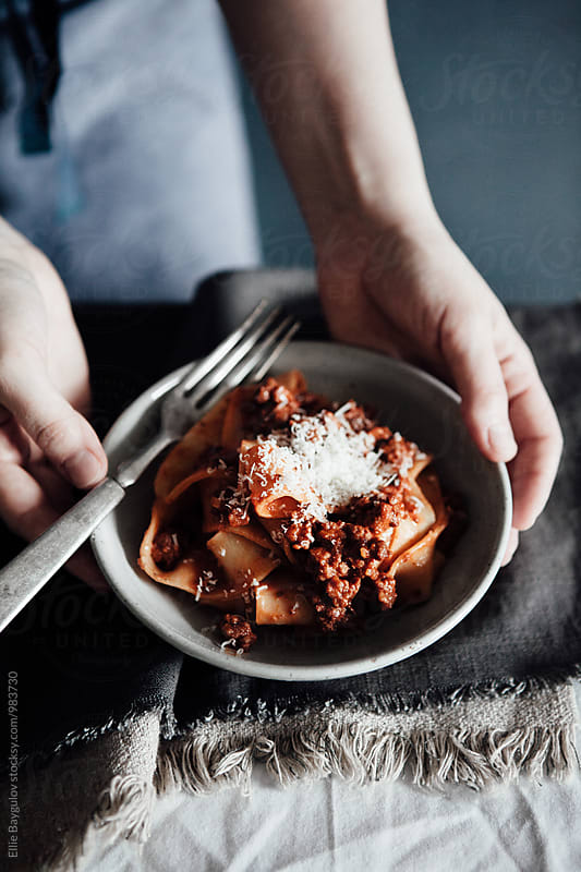 Ragú with Homemade pasta by Ellie Baygulov for Stocksy United