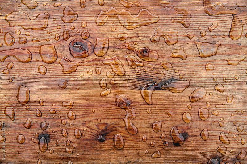 Wood backround with raindrops by kkgas for Stocksy United