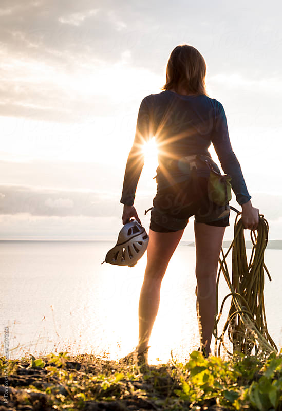 Anonymous Extreme Sport Woman Rock Climber at Sunrise in Canada by JP Danko for Stocksy United