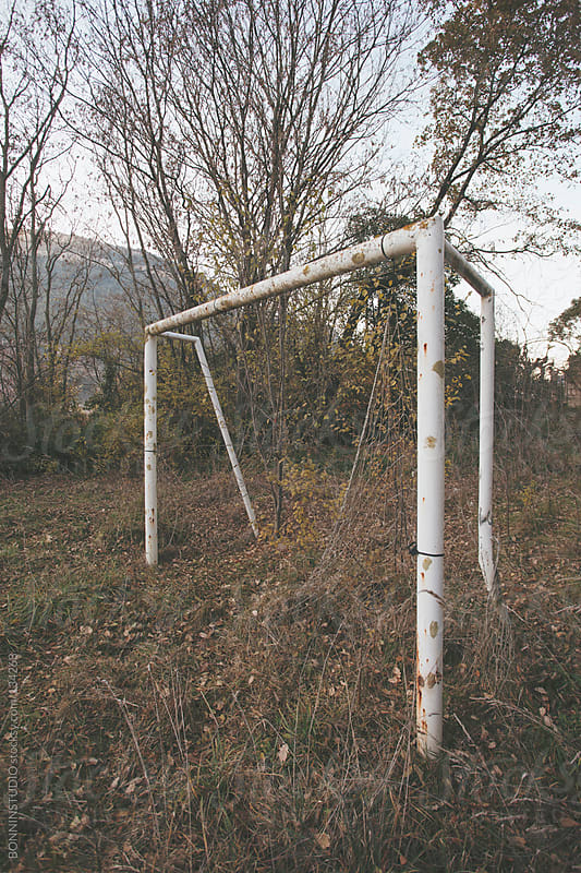 Grunge soccer goal in the forest. by BONNINSTUDIO for Stocksy United