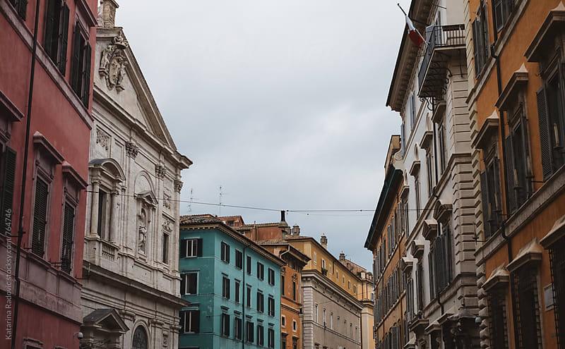 Roman Street with Pastel Houses and Buildings by Katarina Radovic for Stocksy United