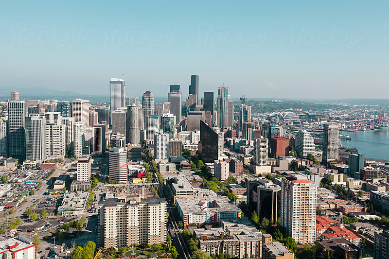 Aerial view of Downtown Seattle by Lilly Bloom for Stocksy United