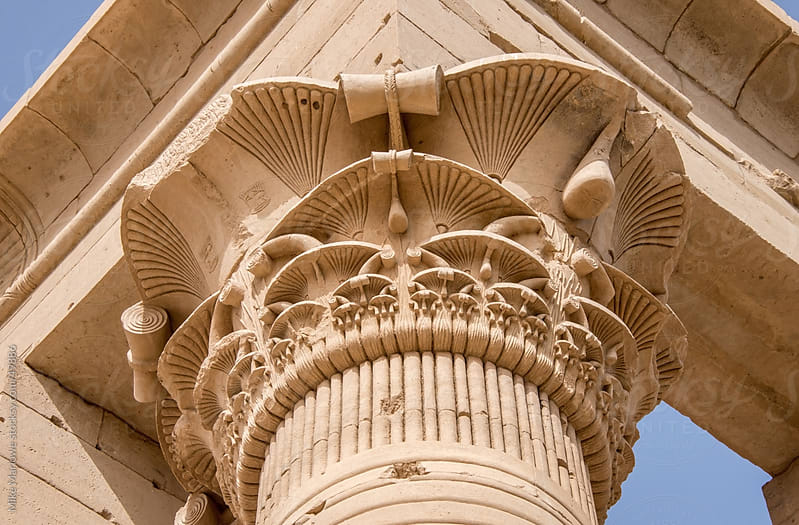 An intricate carved design on an ancient Egyptian monument. by Mike Marlowe for Stocksy United