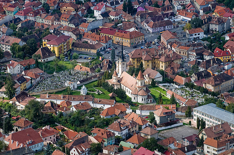 Aerial view of Brasov, Romania by Bisual Studio for Stocksy United